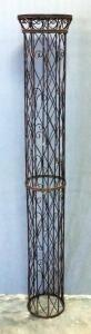 "Wire Pedestal With Reed And Wood Top, 63"" High x 10.25"" Diameter Top"