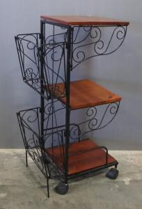 "Wood And Wire Rolling Cart, Back Compartments Are Removable, 26"" High x 10"" Wide x 14"" Deep"