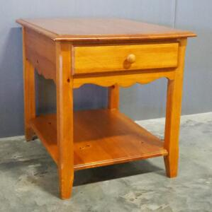"Wood End Table With Single Drawer And Lower Shelf, 23"" High x 21"" Wide x 26"" Deep"