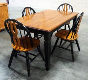 "Dining Table With 4 Matching Chairs, Made Of Ash But Stained Cherry And Black, Table Is 29.5"" High x 59"" Long x 36"" Wide, Matches Lot 55"