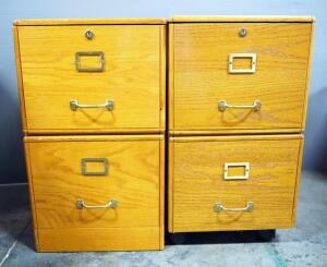 2-Drawer Letter Size Filing Cabinets, Qty 2, One On Wheels, Both Open But No Keys Included