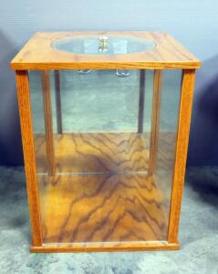 "Display End Table With Removable Glass Top, 3 Sides Are Glass With Mirrored Back, 22"" High x 17.75"" Wide x 17.75' Deep"