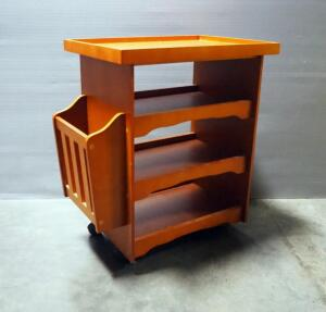 "Rolling Magazine Rack With 3 Lower Shelves And Side Compartment, 23.5"" High x 22"" Wide x 13.75"" Deep"