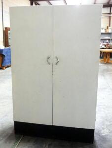 "Vintage Metal 2-Door Cabinet With 4 Shelves, Magnetic Latches, 66"" x 42"" Wide x 15"" Deep"