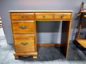 "Desk With 4 Drawers, Brass Pulls, 30"" High x 35"" Wide x 17"" Deep"
