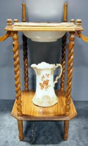 Washstand With Porcelain Pitcher And Bowl, No Mirror, One Side Rod Missing
