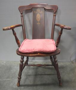 "Antique Armchair With Floral Scroll Design In Backrest And Removable Padded Cushion, 36"" High, Matches Lot 65"