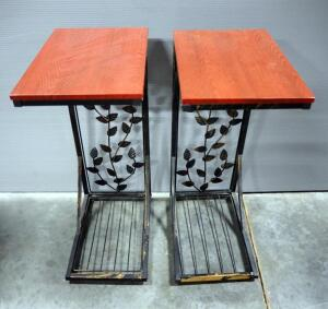 "Metal Side Tables With Floral Backs And Faux Wood Tops, Qty 2, 21"" High x 8.25"" Wide x 12"" Deep"