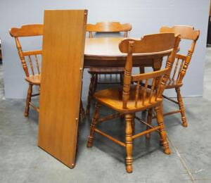 "Tell City Dining Table With Leaf And 4 Chairs, Pattern F8560, Andover Finish, 41.5"" Diameter (Leaf Adds 17.75"")"