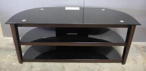 "Glass TV Console, Holds Up To 95 Lbs, 2 Lower Shelves, 21.5"" High x 53.5"" Wide x 21' Deep"