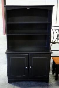 "Cabinet With Hutch, Hutch Has 2 Shelves (1 Adjustable), Lower Cabinet Has 2 Compartments Each With An Adjustable Shelf, 65.25"" H x 38"" W x 15.5"" D"