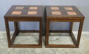 "Steve Silver Co End Tables With Faux Stone Inlays, Qty 2, 24"" High x 24"" Wide x 24"" Deep"