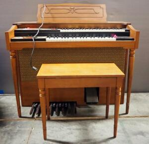 Story & Clark Magi Electric Organ, Powers On, With Bench And Sheet Music
