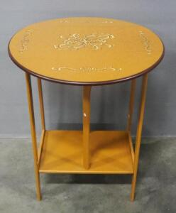 "Guangxi Huafeng Jiuzhou Wood-based Panel Co. End Table With Drop-Down Sides And Lower Shelf, 10 Lb Weight Limit, 22.5"" High x 18"" Diameter"
