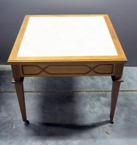 "End Table With Faux Marble Inlay, On Caster Wheels, 21"" High x 26"" Wide x 26"" Deep"
