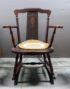 "Antique Rocking Chair With Floral Scroll Design In Backrest And Removable Tie-On Seat Cushion, 32.5"" High, Matches Lot 42"
