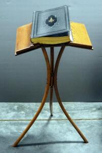 "Masonic Holy Bible (KJV), Published 1942 By John A. Hertel Co., Includes Materials On Masonry, And Wood Book Stand, 36"" High"