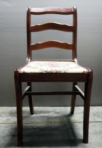 "Haglage & Hawken Furniture Co Wood Chair With Needlepoint Floral Seat, 33"" High"