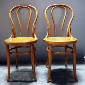 "Vintage Bent Wood Cafe Chairs, Qty 2, 35.5"" High"