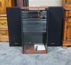 Sony Stereo System Includes Receiver, 5-Disc CD Player, 7-Band Analyzer, Dual Cassette Player, Remote, 2 Tower Speakers, In Sony Cabinet, Powers On