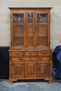 "Young Republic Solid Maple Illuminated China Cabinet, 4 Drawers, Convex Glass Hutch, Dovetail Construction, 74.5"" High x 44"" Wide x 19"" Deep"