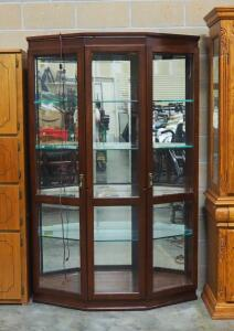 "Reiniuch Illuminated Curio Cabinet (Powers On), 4 Glass Shelves (3 Adjustable), Locking Doors (Keys Included), Beveled Glass, 76"" H x 48"" W x 14"" D"