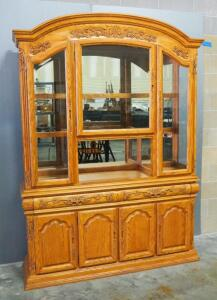 "A-America Solid Oak Illuminated China Cabinet (Powers On), Carved Wood Floral Accents, Beveled Glass Doors, Glass Shelves, 88.5"" H x 63.5"" W x 18"" D"