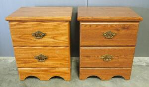 Pair Of Matching 2-Drawer Night Stands, Both With Brass Pulls, 1 With Oak Finish, Other With Cherry Finish