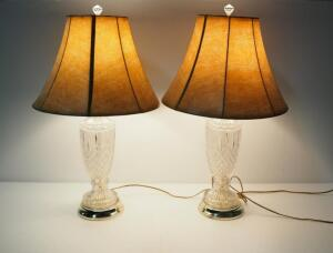 "Pair Of Pressed Glass Urn Style Table Lamps, 28.5"" High, Both Power On"