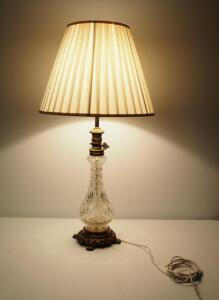 "Glass And Brass Decanter Style Table Lamp, 33"" High, Powers On"