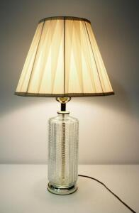 "Glass Based Table Lamp, 28"" High, Powers On"