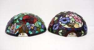 Pair Of Stained Glass Half Moon Floral LED Sconces, Both Power On