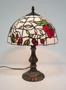 "Tiffany Style Table Lamp With Brass Base, 18"" High, Powers On"