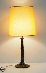 "Gold Toned Tree Trunk Base Table Lamp, 34"" High, Powers On"