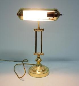 Gold Toned Piano Lamp With Articulating Arms, Powers On