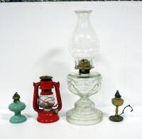Glass Oil Lamp With Eagle Burner, Brass Oil Lamp, And Acorn Metal Oil Lamp, No Hurricane Shade