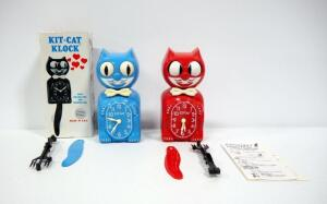 Kit -Kat Klock Wall Clocks, Qty 2, Blue (In Box) And Red, With Instructions