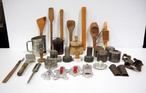 Primitive Kitchen Items, Includes Corn Shuckers, Pasta Rollers, Butter Press, Donut Molds, And Much More