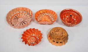 Copper Jell-O Mold Collection, Various Shapes, Qty 5