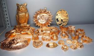Copper Wall Hangs/Jell-O Molds And Cookie Cutters, Various Shapes And Sizes, And More, Approx Qty 23