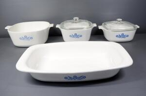 Corningware Casserole Dishes, 1-1/2 qt And 1-3/4 qt With Lids, 1 Unmarked And A Roaster, Pattern Blue Cornflower