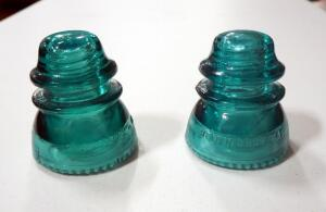 Hemingray Glass Insulators, Qty 2, Marked 42