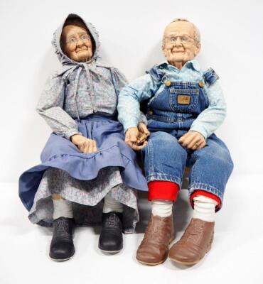 "William Wallace Jr. Grandma And Grandpa Porcelain Dolls, Bodies Are Stuffed, Approx 36"" Long, With Miniature Country Heart Bench"