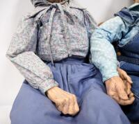"William Wallace Jr. Grandma And Grandpa Porcelain Dolls, Bodies Are Stuffed, Approx 36"" Long, With Miniature Country Heart Bench - 6"