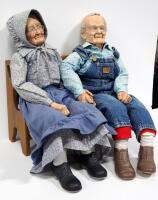 "William Wallace Jr. Grandma And Grandpa Porcelain Dolls, Bodies Are Stuffed, Approx 36"" Long, With Miniature Country Heart Bench - 8"