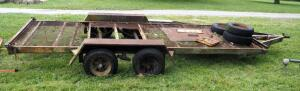 Dual Axle 17' Trailer With Bulldog Trailer Jack, No Title,2 5/16 Ball Hitch, Tires Need Replaced, Bidder Responsible For Proper Removal
