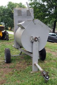 "Portable Gas Powered Cement Mixer 74"" x 114"" x 57"", 2"" Ball, Motor Starts, Tires Need Replaced"