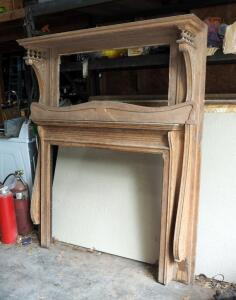 "Reclaimed Antique Solid Wood Mantle With Carved Accents, 70""x 60"" x 12"""