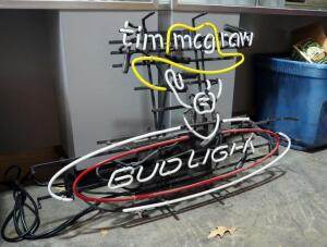 "Desung Electric Neon Tim McGraw Bud Light Retail Sign, 23"" Tall x 36"" Wide, Appears New"