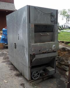 Commercial Rotisserie Smoker With Cast Iron Fire Box And A.O.Smith 1/3 Hp Motor, 83'' x 41'' x 89'', Needs Repair, Bidder Responsible For Proper Removal